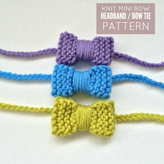 Knit Mini Bow Headband Bow Tie Pattern Pdf Download Bow Etsy