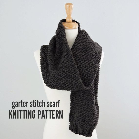 Garter Stitch Scarf Pattern Easy Scarf Pattern Knitted Scarf Etsy