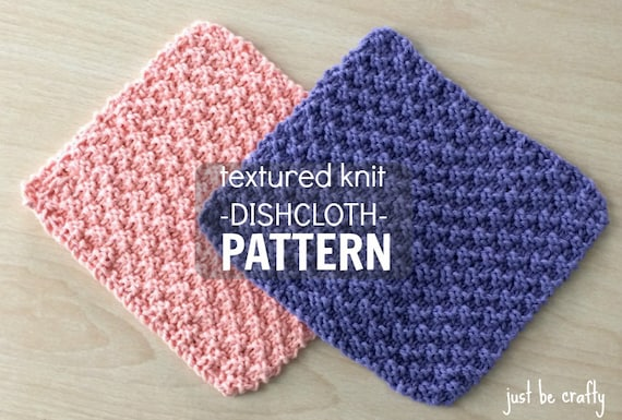 Textured Knit Dishcloth Pattern Printable Pdf Download Etsy