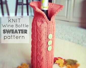 Knit Wine Bottle Sweater Pattern PDF DOWNLOAD, Knitted Wine Bottle Sweater, Wine Bottle Cozy Pattern, Knitted Wine Bottle Cover Pattern