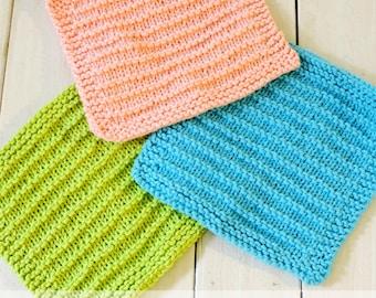 Knitted Dishcloth Pattern - PDF Download; Farmhouse Kitchen Dishcloth Pattern; Knitted Dishcloth; Easy Knit Dishcloth Pattern;