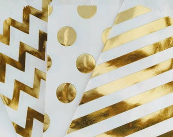 25 Gold Foil Kraft Paper Bags - Polka dots, stripes or chevron