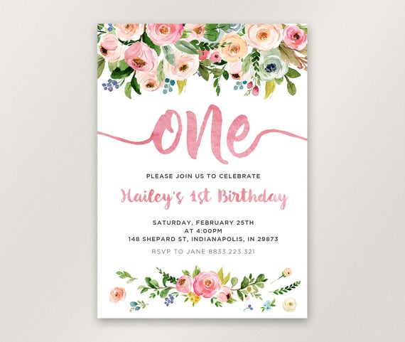 Floral 1st Birthday Invitation Girl First Birthday