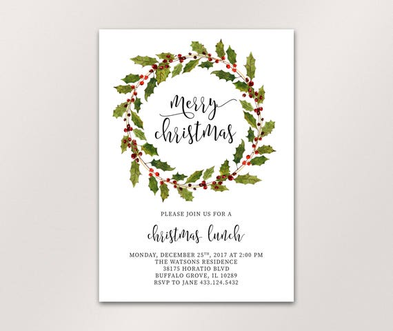 christmas invitation christmas lunch invitation christmas etsy