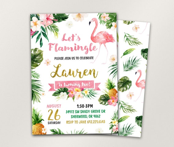 flamingo invitation girls summer invitation pineapple etsy