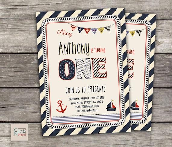 Nautical Boy First Birthday Invitation