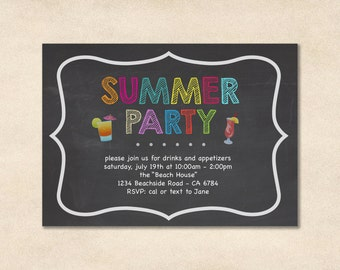 Summer Party Invitation // Party Invitation // Beach Party // Backyard Party // BBQ and Pool Party