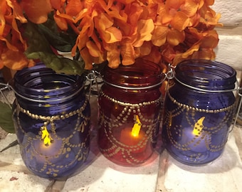 Mason jar with henna design include battery operated  light