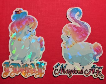 "TUBBY SASSY UNICORNS Holographic 3.5"" Stickers"