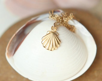 Tiny shell necklace // gold shell necklace // beach necklace // summer // layering // a 22k gold vermeil shell on 14k gold vermeil chain