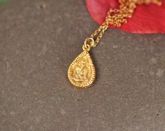 Buddha necklace // gold buddha necklace // yoga necklace // gautama buddha // a 22k gold vermeil buddha on a 14k gold vermeil chain