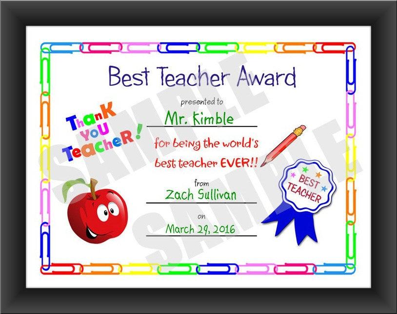 Flash Sale Certificate Best Teacher Kids Certificate Etsy
