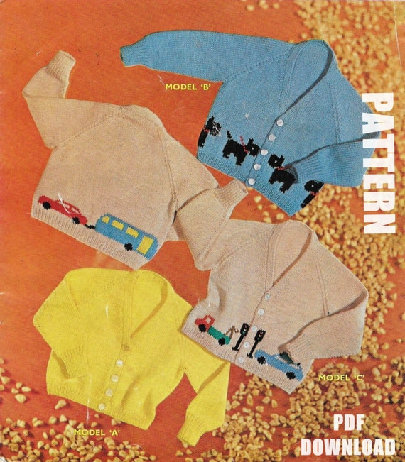 Baby Knitting Pattern Knitted Cardigans Dog Motif Car Etsy