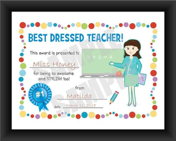 certificate best dressedteacher kids certificate pdf etsy
