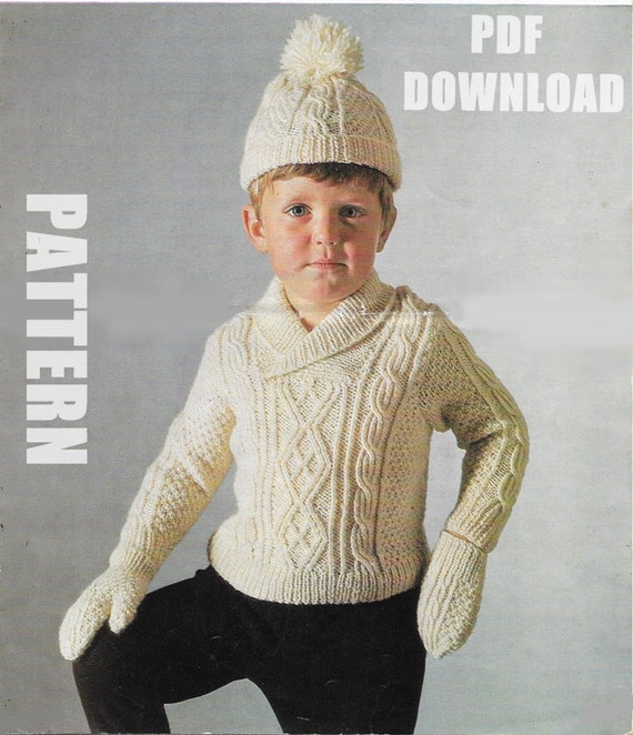 Hat /& Mittens Knitting Pattern Baby Boy/'s Aran Cable Cardigan 161