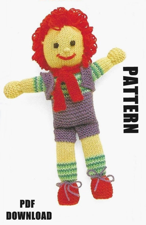 Flash Sale Knitted Doll Knitting Pattern Rag Doll Happy Etsy