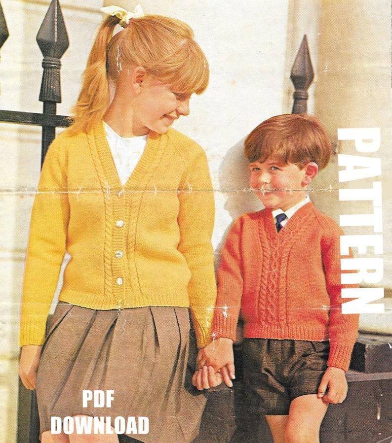 Raglan Cardigan Child's Vintage Knitting Pattern | Etsy