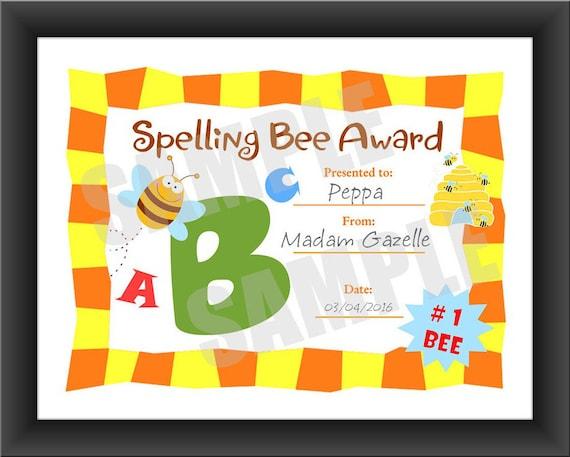 kids certificate spelling bee for teachers pdf download etsy