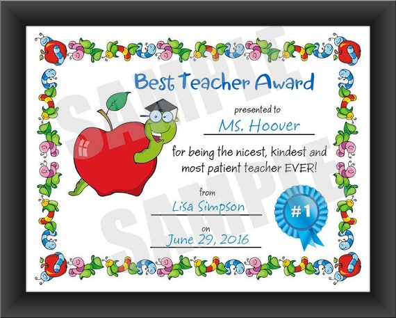 certificate best teacher kids certificate pdf download etsy
