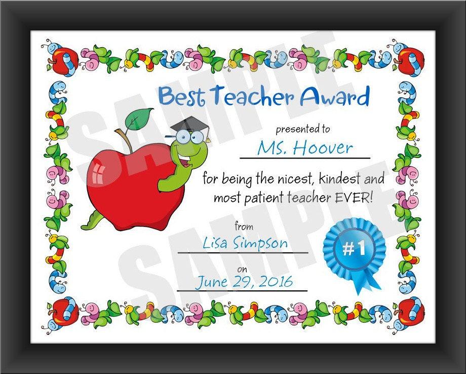 Certificate Best Teacher Kids Certificate Pdf Download Etsy
