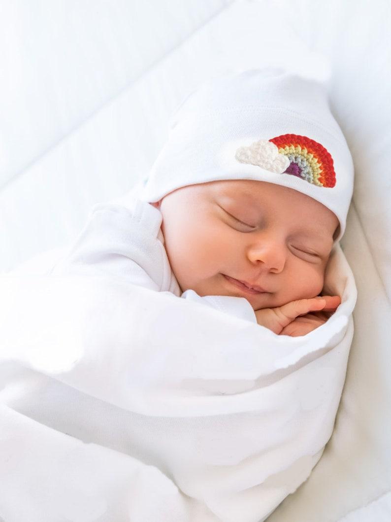 Rainbow of Happiness Crochet Baby Hat Hospital Hat Newborn image 0