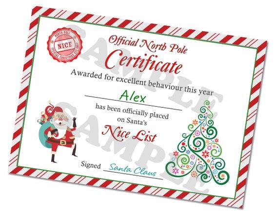 christmas certificate nice list kids certificate christmas etsy