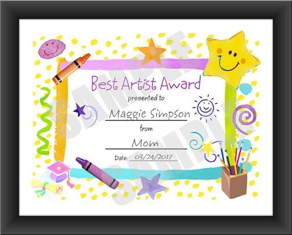 certificate for kids best artist certificate pdf download etsy