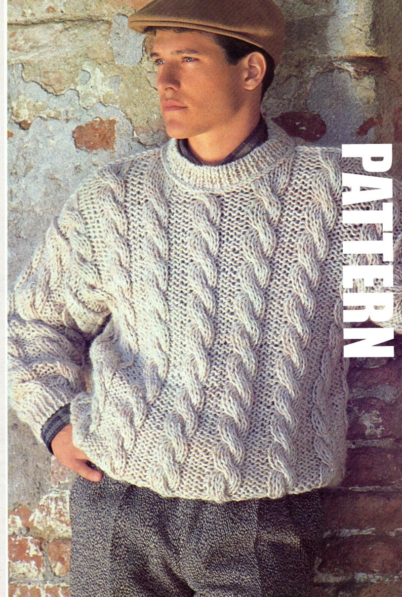 69815cebf1036 Mens Knitted Sweater Vintage Cable knit Sweater Chunky