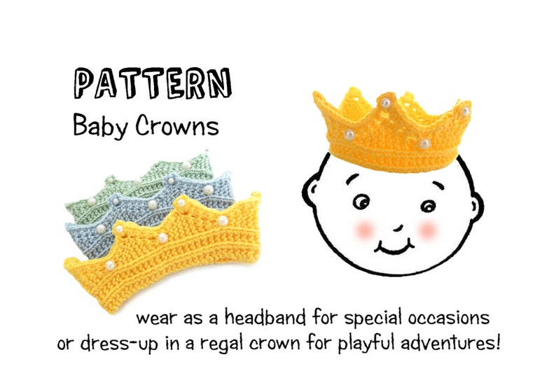 Crown Headband Knitting Pattern Baby and Toddler PDF image 0