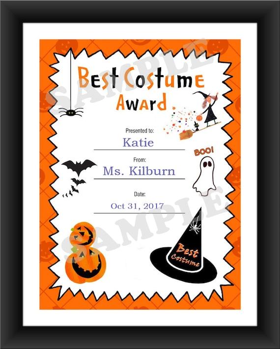 halloween best costume kids certificate halloween costume etsy