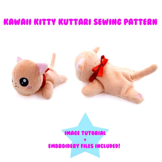 PlanetPlush Kawaii Kitty Kuttari Plush Sewing Pattern | Etsy