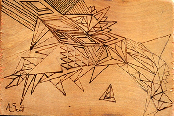 Wood Burning Abstract Small Art Drawing Geometry Triangles Phyrography Carving