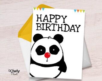 Printable Panda Happy Birthday Card Ready To Print PDF