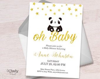 Printable Personalized Panda Baby Shower Invitation (stars). Baby shower Invitation. PDF Boy/Girl Baby Shower Invitation