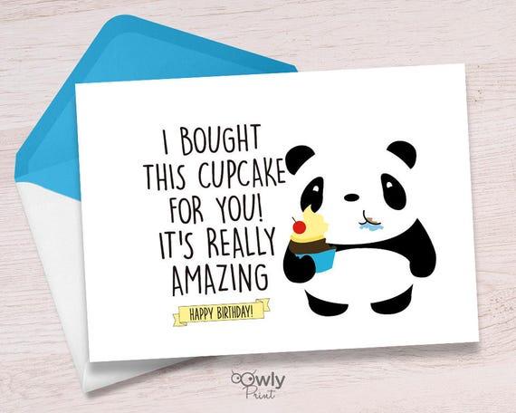 Printable Panda Happy Birthday Cardady To Print Panda Happy Etsy