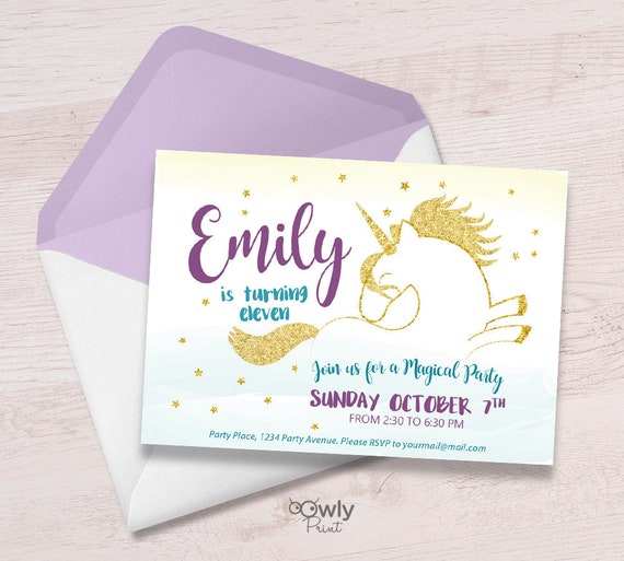 Printable Personalized Unicorn Birthday Invitation FREE