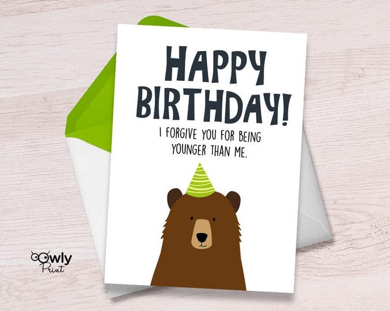 Printable Bear Happy Birthday Card Ready To Print