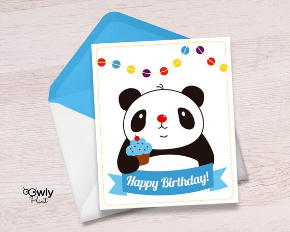 Printable Panda Happy Birthday Card Ready To Print Panda Etsy