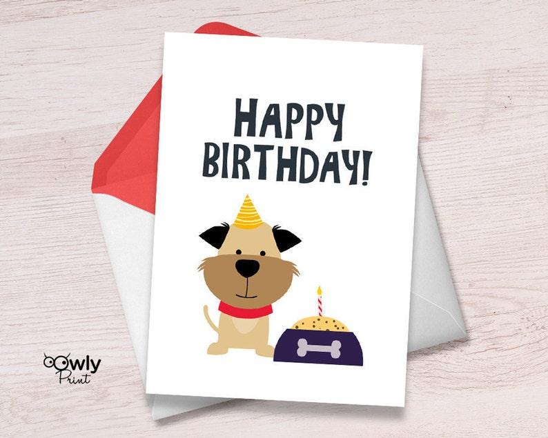Printable Puppy Happy Birthday Card Ready To Print Dog