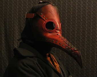 Plague Doctor Mask in Red Leather - Steampunk inspired - plague doctor costume - steampunk mask