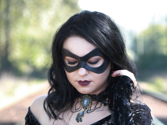 Red Leather Masquerade Domino Mask