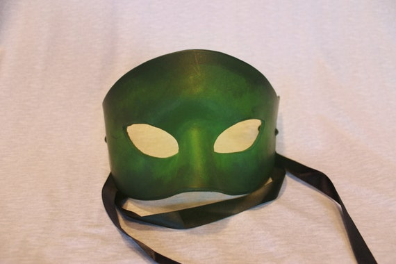 Black and Green Leather Domino Masquerade Mask