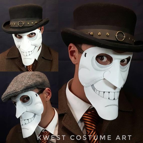 men/'s masquerade bauta we happy few leather mask clown mask bauta venetian mask grin mask full face mask theatre mask