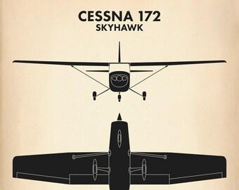 Cessna 172 Skyhawk Aircraft Recognition Poster