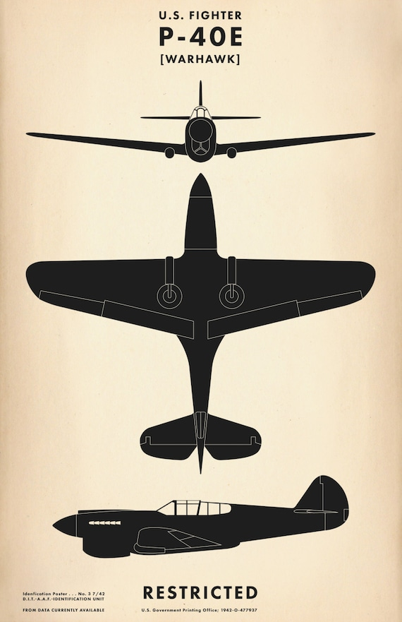 P 40e Warhawk Ww2 Aircraft Recognition Poster Etsy