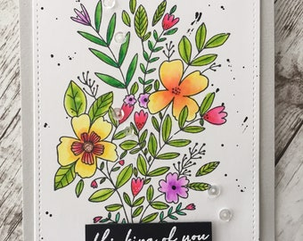 Thinking of You Card, Hello Card, Just Because Handmade Greeting Card