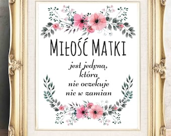 polish mother quote polish mother love quote gift for matka polish mom polish wall art from poland gift from son gift from daughter poland
