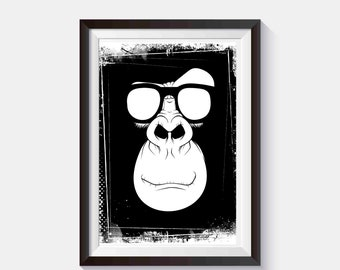 Cheeky Monkey Print Monkey poster Monkey wall art Animal Poster Monkey decor Monkey in Glasses Monkey Wall Decor Nursery Monkey Hipster