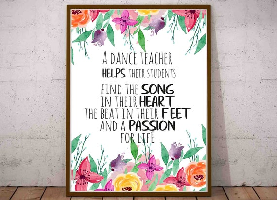 Dance Teacher Thank You Gift Appreciation Gift Printable Etsy