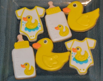 Rubber Ducky baby shower cookies